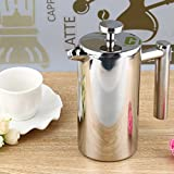 Pinkdose® 350Ml: 350Ml Silver Stainless Steel Insulated Coffee Tea Maker French Press Percolators With Filter Double Wall For Living Room Office