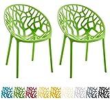 CLP 2er-Set Design Gartenstuhl Hope aus Kunststoff | Wetterbeständiger Stabiler Stapelstuhl mit Einer maximalen Belastbarkeit von 150 kg | in Verschiedenen Farben erhältlich Grün