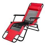 Liegestuhl Klappbar Gartenliege Sonnenliege Relaxliege Strandstuhl mit Kopfkissen für Garten Balkon Camping Strand (Rot)