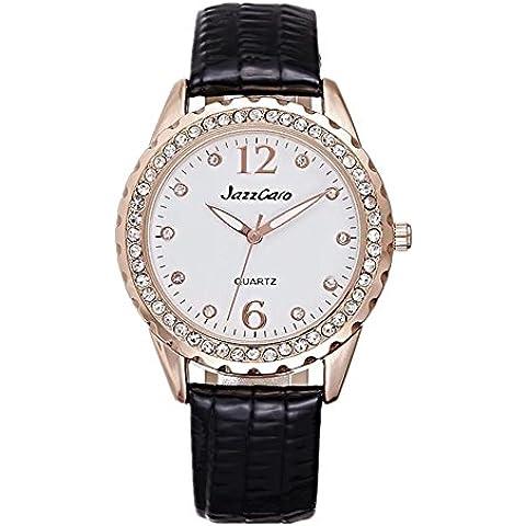 Lady fashion strass cuoio cinturino orologio al quarzo , black - Cinturino Strass Guarda