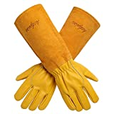 Gardening Gloves for Women/Men  Acdyion Rose Pruning Thorn & Cut Proof Long Forearm Protection Gauntlet Durable Cowhide Leather Work Garden Gloves Suitable for Pruning Cacti Rose and Thorny Bushes
