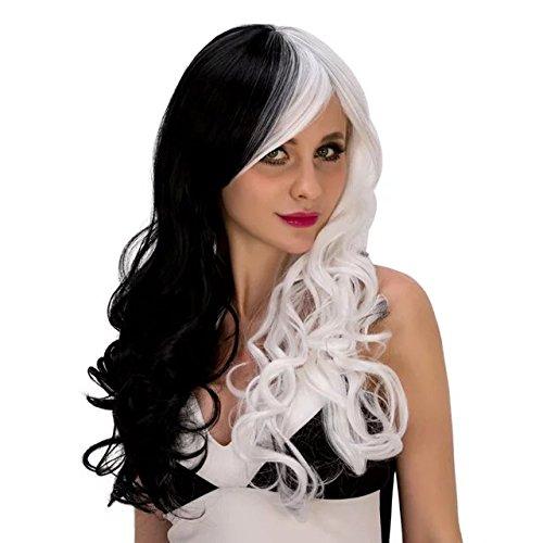 Haar Schwarz Halb Kostüm Weiß Halb (Top Cosplay Perücke halb weiß halb schwarz cosplay)
