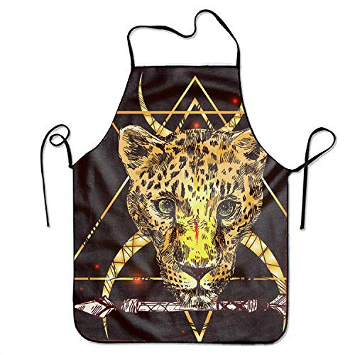 ERCGY 2019 Apron Waist Adjustable Professional Apron Kitchen Hand-Drawn Leopard Print
