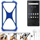 K-S-Trade Bumper für BlackBerry KEY2 (Dual-SIM) Schutzhülle Handyhülle Silikon Schutz Hülle Cover Case Silikoncase Silikonbumper TPU Softcase Smartphone, Blau (1x), Headphones