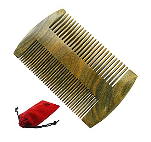 Meta-C Natural Green Sandal Wood Handmade Pocket Beard/Hair Comb (Standard/Fine teeth)
