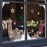 Sticker4 Adhesivo decorativo para ventana con 4esquinas de carámbanos y 12originales copos de nieve, small