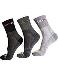 3 Pairs of Hiking Coolmax Crew Socks - Outdoor Trekking Sock with Wicking Ventilating Mesh Cushioned Padding Design - Temperature Controlled Fit for Trekker Walking Camping Climbing Athletic Running Sports for Men - Size UK 6-10 EUR 39-44