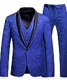 MOGU Classic Floral Jacquard hombre azul combina chaqueta y chaleco de 3 piezas de lujo con chaleco y chaleco ES Talla XL (Asiático 5XL) Azul