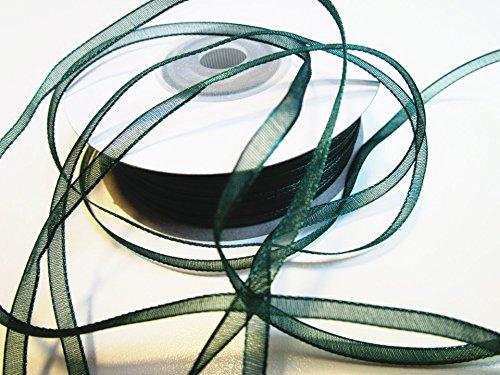 CaPiSo® 100 m Organza Chiffon 3 mm breit mit Webkante (Dunkles Grün) Chiffon-band