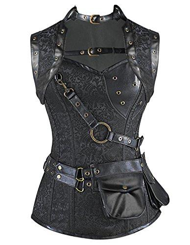 Burvogue Women's Gothic Retro 12 Steel Bone Steampunk Corset Top (X-Large, black) steampunk buy now online