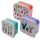 Puckator Cactus Set di 3 Contenitori per Alimenti, Arancio/Verde/Viola