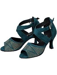 WYMNAME Mujeres Zapatos De Baile Latino,con Taladro Modernos Zapatos De Baile Tacones Fondo Blando Zapatos De...