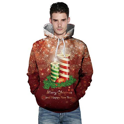 MRULIC Herren 3D Gedruckt Hoodies Neuheit Pullover Jumper Langarm Sportbekleidung Beiläufige Kapuzenoberteil Leichte Sweatshirts Taschen Mantel
