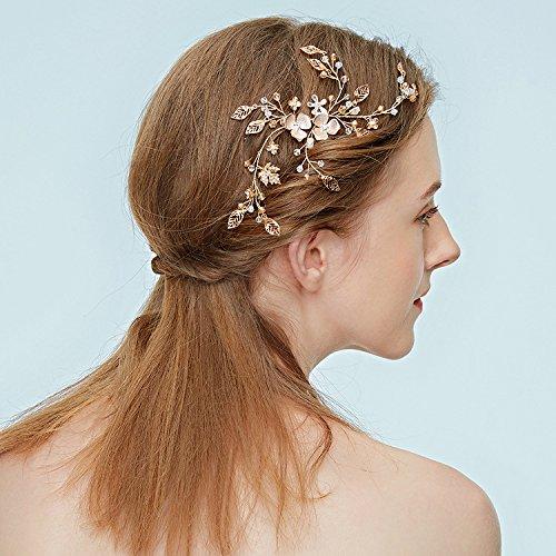 ZPFME Romantische Kristall Stirnband Strass Blatt Tiara Hochzeit Haarschmuck Kostüm Zubehör Für Frauen,Gold-S