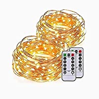 10m 100LEDs Waterproof Starry Fairy Copper String Lights Battery Powered for Bedroom Indoor Outdoor Warm White Ambiance Lighting for Patio Halloween Thanksgiving Christmas Party, Timer