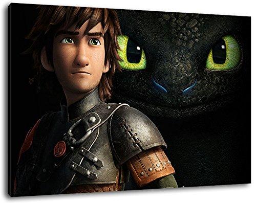 Dark how to train your dragon Bild auf Leinwand -- 100x70 cmfertig gerahmte Kunstdruckbilder als Wandbild - Billiger als Ölbild oder Gemälde - KEIN Poster oder Plakat (Dragon Großes Poster)