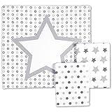 Odenwälder 10091-120 Moltontücher Sterne/Tupfen/Kreise 3er Pack silber