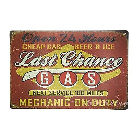 66retro letzte Chance Gas, Uhr, Vintage Retro Metall blechschild, Wand Deko Schild, 20cm x 30cm