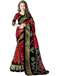 Glory Sarees Art Silk Saree With Blouse Piece (vnart28_Red and Black_Free Size)