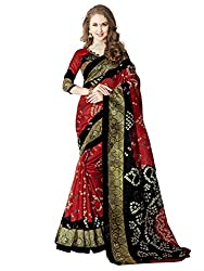 Glory sarees Women's Bhagalpuri Art Silk Cotton Bandhani Saree (vnart28_black and red)