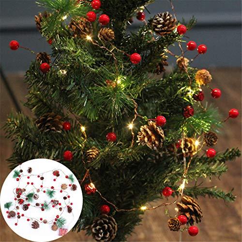 duquanxinquan Weihnachten Rattan LED Weihnachtslichter Lichterkette Tannenzapfen-Kupferdrahtlichter für Weihnachtsfeiertags-Baum und Hauptdekoration -