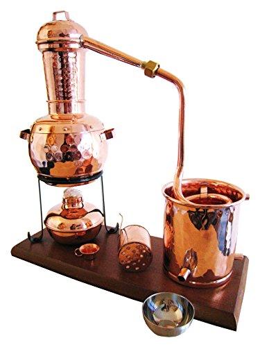 Dr. Richter Destille 0,5 Liter Modell 'Kalif' mit Aromakorb und Spiritusbrenner (Aktuelles Modell; Premiumedition mit Gestell, Spiritusbrenner, Aromakorb und zusätzlichem Destillatauffangbecher)
