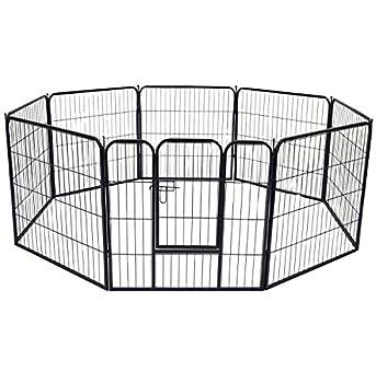 WOLTU HT2031m2 Parc enclos pour Chiens Chiots Animaux de compagnie,Clôtures anti-fugue pour chiens,Chiots Playpen 8 éléments métalliques,81x77cm