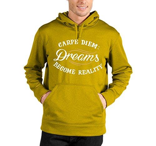 Felpa con cappuccio Carpe Diem: dreams become reality - i sogni diventano realtà - in cotone Giallo