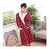 GAOHUI Les Hommes Hiver Chaud Accueil Hôtel Peignoir De Flanelle Tricoté Manches Longues Rouge Épaissie Couple Pyjama,Mâle,L (165-173Cm)