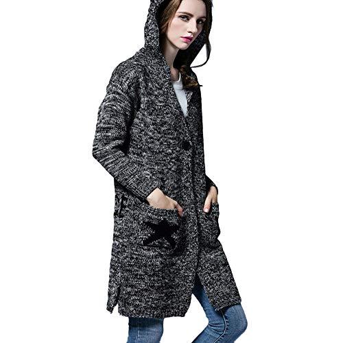 BHYDRY Mujeres Sueltas Casual Color Puro Manga Larga Invierno cálido Abrigo Largo Slim Cardigan