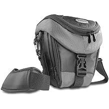 Mantona Premium - Funda para cámara reflex (correa para hombro, cierre de cremallera y clip), color gris claro