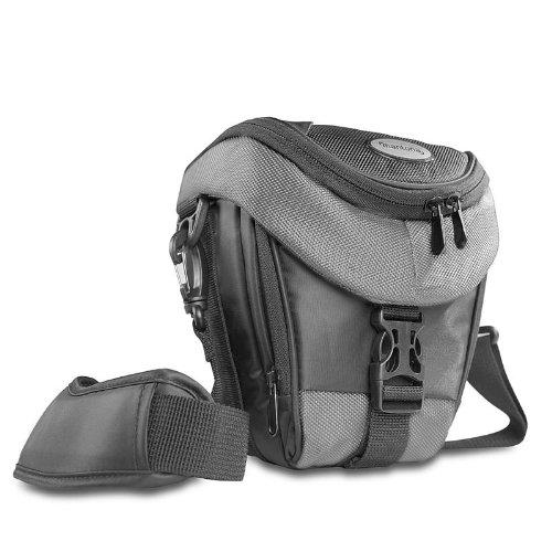 Mantona Colt Kameratasche (Universaltasche inkl. Schnellzugriff, Staubschutz, Tragegurt und Zubehörfach, geeignet für DSLR- und Systemkameras) schwarz/grau