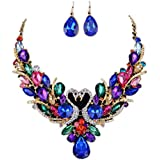 Women Fashion Crystal Necklace Jewelry Statement Pendant Chain Swan Diamond Set Paragraph Wild Alloy Necklace Earrings Lanspo