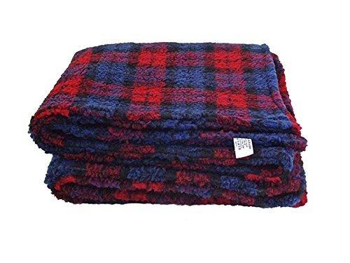 Rouge ecossais Couverture polaire Sherpa pour chien - 150cm x 137cm - Double épaisseur pour plus de confort