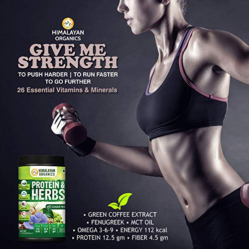 Himalayan Organics Protein & Herbs, Whey Protein with Green Coffee Beans Extract, Omega 3-6-9, MCT Oil & 27 Essentials Vitamins & Minerals - 20 Servings - 0g added sugar (Chocolate)