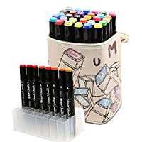 Haresle Drawing Markers Graphic Marker Set Dual Tips Color Pens Art Supplies with Leather Carrying Case, for Drawing Sketching and Manga Colouring