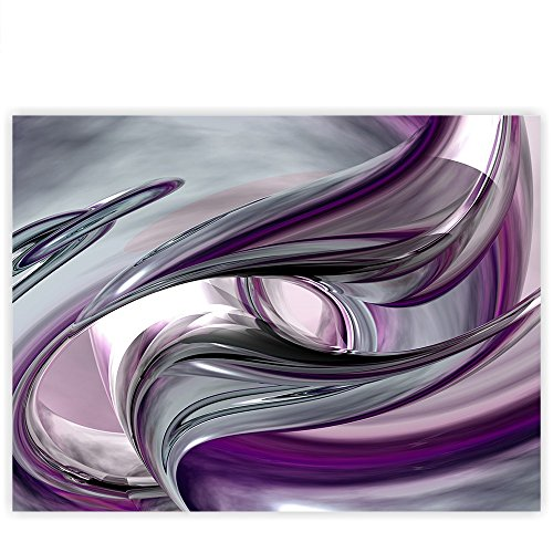 Strukturierte Leinwand Kunst (Leinwandbild 100x75 cm - Top - Wandbild XXL Kunstdruck Leinwand Bild Wanddeko Canvas - LIQUID CLIMAX - 3D Digital Art Abstrakt Schwung blau rot lila - no. 010, Qualität Leinwand:Premium)