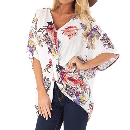 en Kurzarm Tunika Batwing V Ausschnitt Bluse Floral Henley Shirt Bluse T Shirt ()
