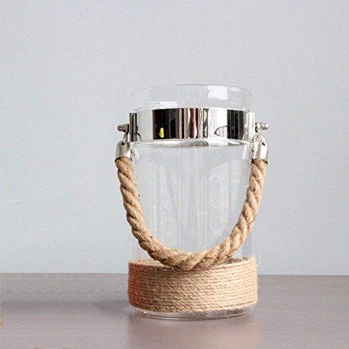 HAIZHEN American Country Retro Hanfseil Portable Leuchter aus Glas dekorative Kerze Laternen Wind, leicht transparente Glas Kerzenhalter Vase Dekoration Blumen Racks (Farbe: Unwürdig, Kerzen, Größe: Groß)