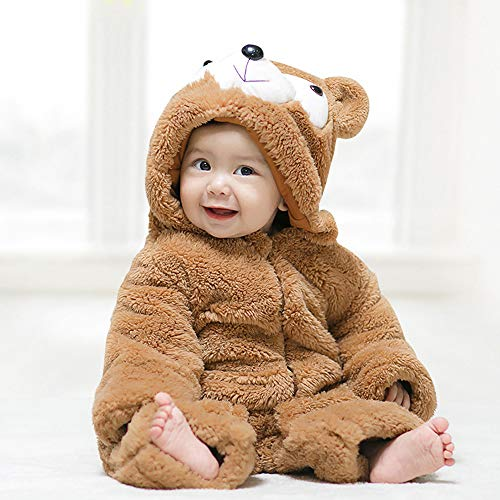 JJAIR Baby-Jungen mit Kapuze Spielanzug, Weihnachten Danksagungs-Karikatur-Pyjamas Pelz-Strampler mit Kapuze Overall,80