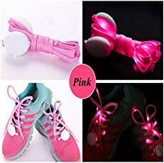 Jern Cool Fashion Light Up Led Shoelaces Flash Party Skating Glowing Shoe Laces for Boys Girls Fashion Self Luminous Shoe Strings (Pink)