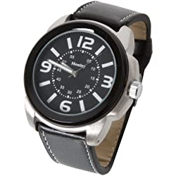 Retro Circular Shaped Henley Watch with exposed stitching on Black Leather effect Strap