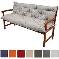 Beautissu Flair BR - Colchón, respaldo, cojín de bancos de jardín, terraza o balcón - 120x50x50 cm - Gris claro