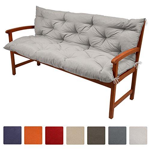 Beautissu Flair BR - Colchón, respaldo, cojín de bancos de jardín, terraza o balcón - 100x50x50 cm - Gris Claro