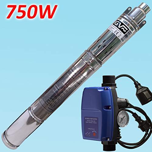 GV Pumpentechnik Tiefbrunnenpumpe 3RD1 sandverträglich mit Edelstahlgehäuse 750W + Pumpensteuerung PC-15A