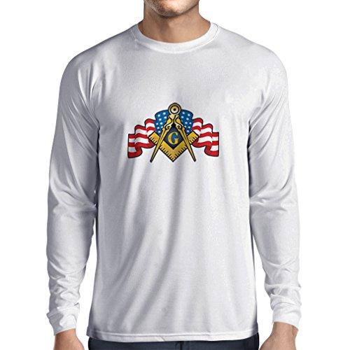 N4304L T-shirt manica lunga da uomo Massoni LOGO (X-Large Bianco Multicolore)