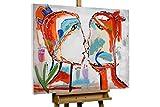 KunstLoft® Gemälde 'Ein Bund fürs Leben' in 100x75cm | Leinwandbild handgemalte Bilder | Picasso Gesicht abstrakt Deko bunt | signiertes Wandbild-Unikat | Acrylgemälde auf Leinwand | Modernes Kunst Bild | Original Acrylbild auf Keilrahmen