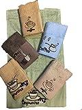 6er Set Frottier Gäste-Handtuch GÄSTETUCH Küchenhandtuch Gästetücher 100%Bambu Küchentuch Geburtstag Geschenk Farbig Coffee-Cappucino
