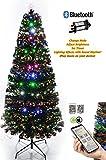 SHATCHI 6053 Sapin de Noël illuminé avec application Bluetooth pour smartphone 60 cm 8 modes/minuterie/contrôle de la luminosité Fibre optique de Noël 0,6 m Vert