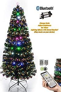 Shatchi 6053-LED-BLUETOOTH-TREE-4FT Smart App Bluetooth 4ft Pre-Lit LED Fibra óptica Árbol de Navidad 8 modos/temporizador/luces BRGHTNESS Control Navidad decoraciones 120 cm, verde